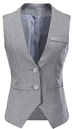 "Vocni Women V-Neck Business Slim Fit Skinny Button Down Suit Dressy Vests Waistcoat,Grey,US XS+ (Fit Bust 30.3""-32.7""),Tag L"