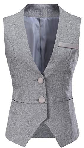 Vocni Frauen V-Ausschnitt Business Slim Fit Skinny Button Down Anzug Kleid Weste Weste Weste
