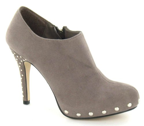 Ladies Spot On Ankle Boots Style - F9430 Taupe (Beige)