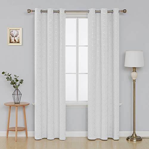Deconovo Sliver Diamond Foil Print Grommet Room Darkening Thermal Insulated Curtains Blackout Window Panels for Bedroom Width 42 Inch by Length 84 Inch Greyish White Two Curtain Panels ()