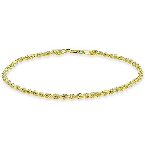 14K Yellow Gold 2mm Hollow Twist Rope Chain Bracelet, Anklet for Men and Women, 9 Inch 14k Yellow Gold Ladies Bracelet