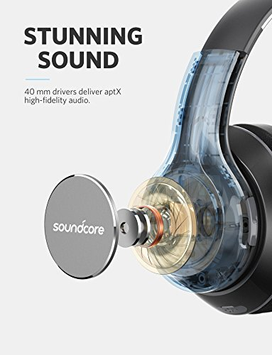 Soundcore Vortex Wireless Over-Ear Headphones by Anker, with 20-Hour Playtime, Bluetooth 4.1, Hi-Fi Stereo Sound, Soft Memory-Foam Ear Cups, Built-in Mic and Wired Mode by Soundcore
