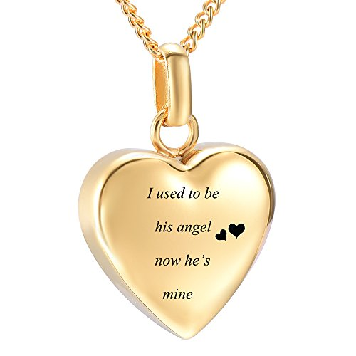 (DIYjewelry Inc Heart Ashes Necklace Urn Pendant Keepsake Cremation Memorial Jewelry with His/Her Angel Engraved (Gold his))
