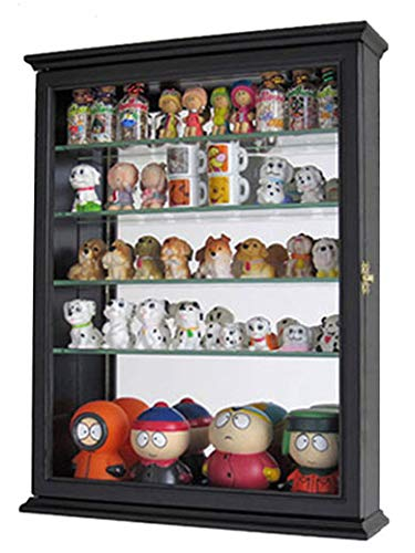 DisplayGifts Small Wall Mountable Curio Cabinet Shadow Box, With Glass  Door, Mirrored Back,