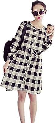 fashciaga Women's Plaid Button Down Shirtdress
