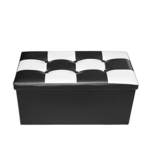 Storage Ottoman, Rusee Faux Leather Collapsible Folding Storage Ottoman Bench Foot Rest Stool Seat Coffee Table With Removable Black White Chessboard Lid