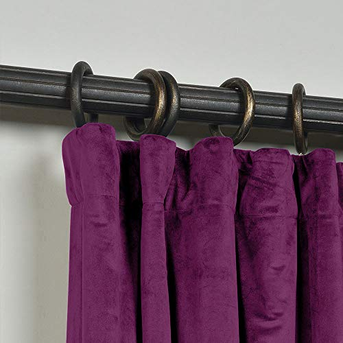 ChadMade 50W x 72L Inch Soft Premium Velvet Curtain Drapery with Blackout Lining Flat Hook or Ring Clip Header for Track, Purple (1 Panel)