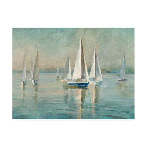 Trademark Fine Art Sailboats at Sunrise by Danhui NAI, 35x47