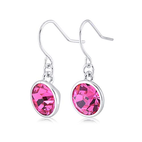 UPSERA Pink Drop Dangle Earrings for Women Girls Crystals from Swarovski Silver Tone Plated Earrings Jewelry (Date Tourmaline Earrings)