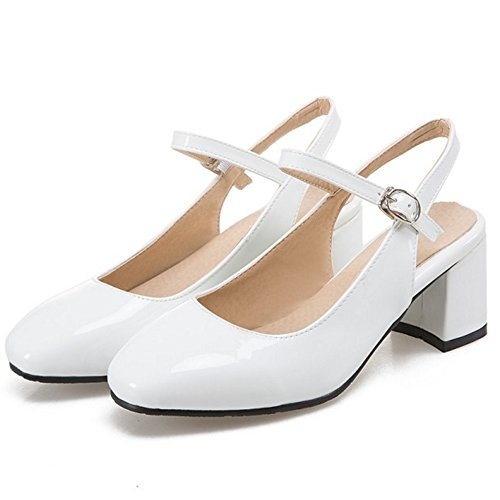 Correa Open Sandalias FANIMILA Mujer Ancho Blanco Cerrado Tobillo Back Zapatos Tacon de Moda XaZawE