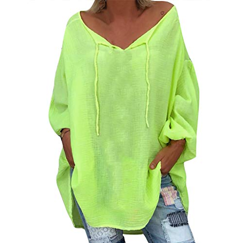 (ANJUNIE Women's Oversize Shirt Loose Solid Long Sleeve V-Neck Pullover Casual Tops(Green,S))