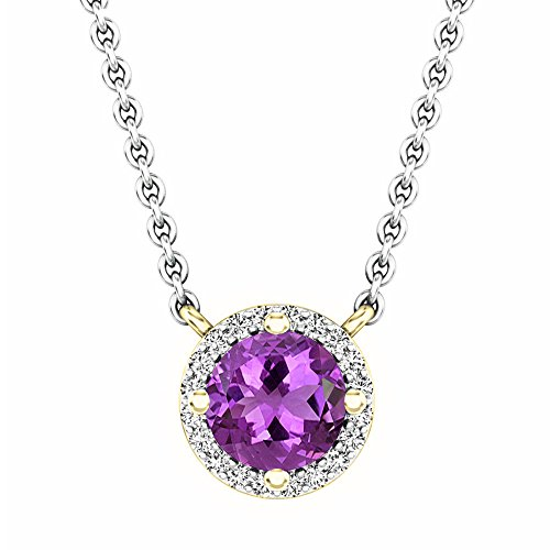 Dazzlingrock Collection 14K Round Amethyst And White Diamond Ladies Halo Pendant (Silver Chain Included), Yellow - Amethyst Gold Pendant Round