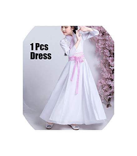 Chinese Hanfu Girls Princess Dresses Folk Dance Performance Clothing Dnv10932,White,100 -
