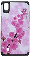 HR Wireless Rubberized Design Slim Dual Layer Hybrid Case for LG X Power K6P - Sakura Cherry Blossom Exotic Floral