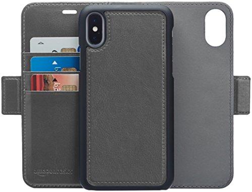 AmazonBasics iPhone X PU Leather Wallet Detachable Case, Dark Grey