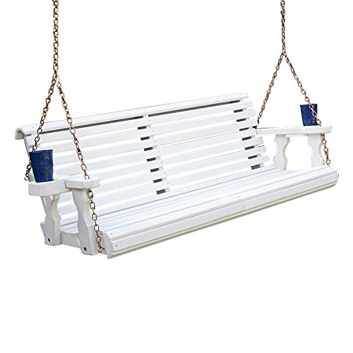 Amish Heavy Duty 800 Lb Roll Back Treated Porch Swing with Hanging Chains and Cupholders (4 Foot, Semi-Solid White Stain)