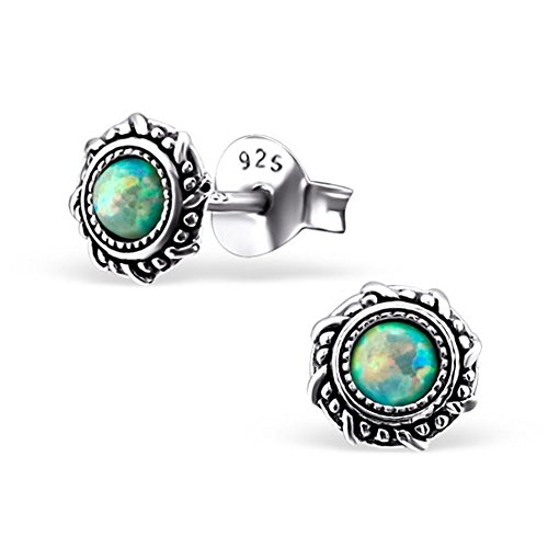 Opal Vintage Earrings - Small Round Blue Synthetic Opal Silver Earrings Vintage Antique Style Stering Silver 925 Post Studs (E23674) (Moon Yellow)