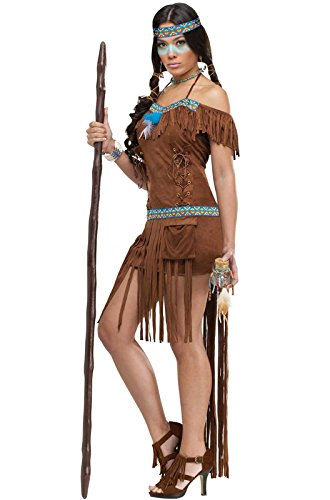 Sexy Adult Indian Costumes - FunWorld Medicine Woman, Brown, 2-8 Small