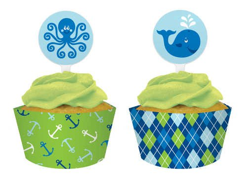 12-Count Cupcake Pick Decorations and Baking Cup Wrappers, Ocean Preppy Boy