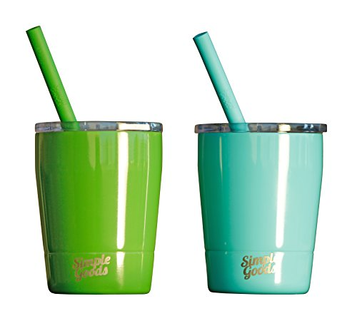 Simple Goods 2 Pack Kids Stainless Steel Sippy Cup Tumbler with Straw, Lid & Bag (Tiny, 8 oz, Green/Turq 2 Pack)