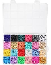 MILISTEN 24 Grids Polymeer Klei Kralen Kit Ronde Clay Bedels Bohemian Plaksteen Knoppen Kralen Voor Diy Ketting Armband Sieraden Maken (Kleurrijke)