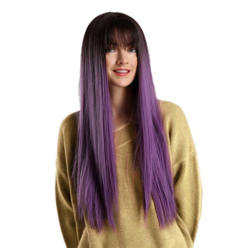 (Oucan 28Inch Heat Resistant Purple Long Curly Hair Synthetic Wig Fashion Long Wavy)