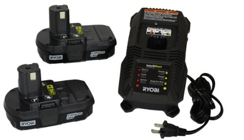 Ryobi P118 NiCd/Lithium Ion Battery Charger and Two P102 Batteries (Bulk Packaged) by Ryobi