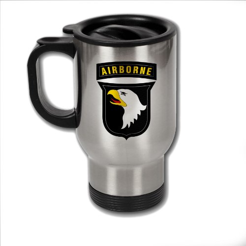 Stainless Steel Coffee Mug with U.S. Army 101st Airborne Division insignia