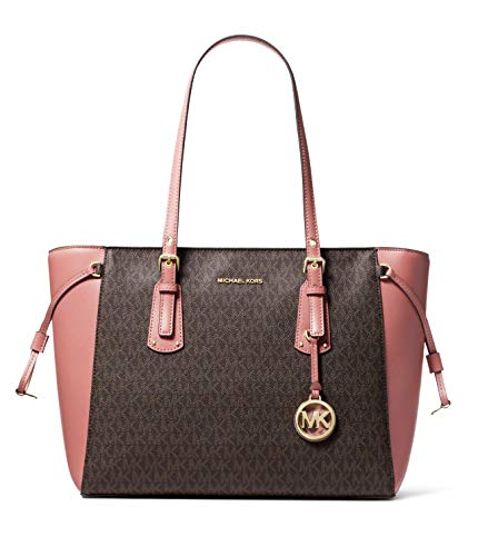 MICHAEL Michael Kors Voyager Medium Multifunction Top-Zip Tote (Brown/Rose) ...