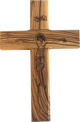 Holy Land Market Olive wood Cross with Crucifix carved by Laser - An Icon of faith (8 inches or 20 cm) -