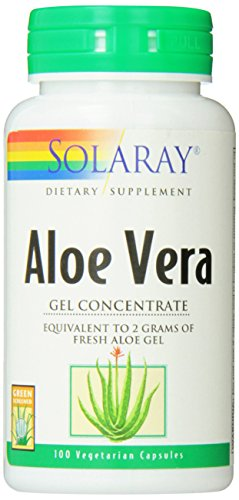 Solaray Aloe Vera Gel, 2000 mg, 100 Count Aloe Vera Gel Capsules