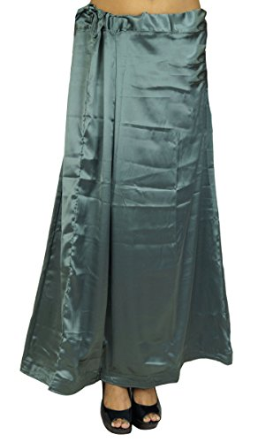 - ibaexports Indian Satin Silk Petticoat Bollywood Solid Inskirt Lining for Sari Women Clothing