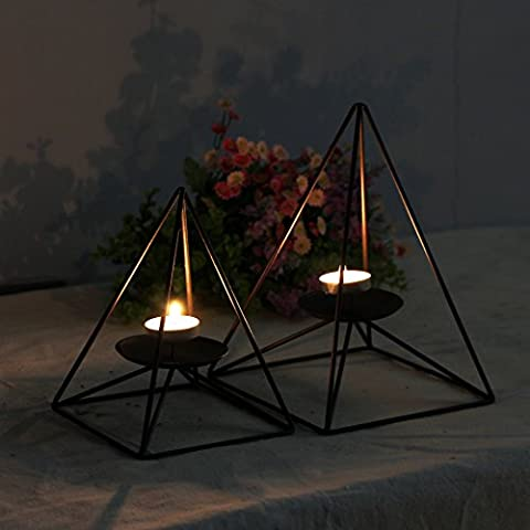 Home-organizer Tech Geometric Contracted Pyramid Shape Black Iron Candlestick Candle Holder Black Iron Candlestick Candle Holder (San Miguel Salt)