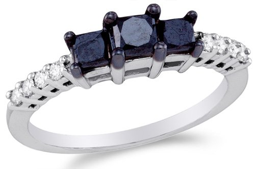 Classic 3 Stone Channel Ring - Sonia Jewels Size 10-10K White Gold White and Black Diamond Classic Traditional Engagement Ring - 3 Three Stone Center Setting Shape w/Channel Set Princess Cut & Round Diamonds - (.98 cttw)