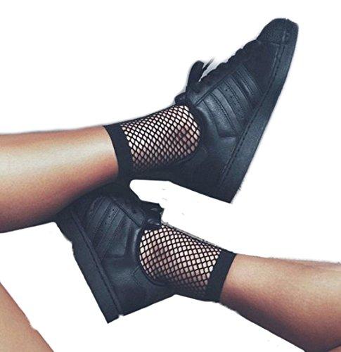 (YABINA Lace Mesh Sheer Socks Ankle High Fishnet Socks (Small Net Black))