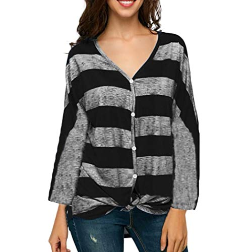 Clearance!Youngh New Womens Plus Size Stripe Print V Neck Button Loose Bandage Casual Blouse T Shirt Tops