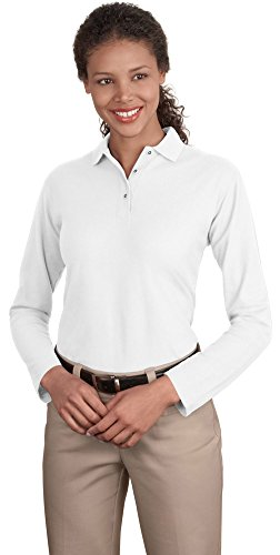 Port Authority Ladies Long Sleeve Silk Touch Polo, White, Large