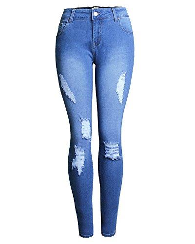 ZhuiKun Pantalones Denim Lápiz Mujeres Skinny Azul Leggings Vaqueros nnxav6