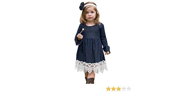 00981f92242 Amazon.com  Goodlock Toddler Infant Fashion Dress Baby Girls Denim Flare  Sleeve Dress Lace Splice Sundress Clothes  Clothing