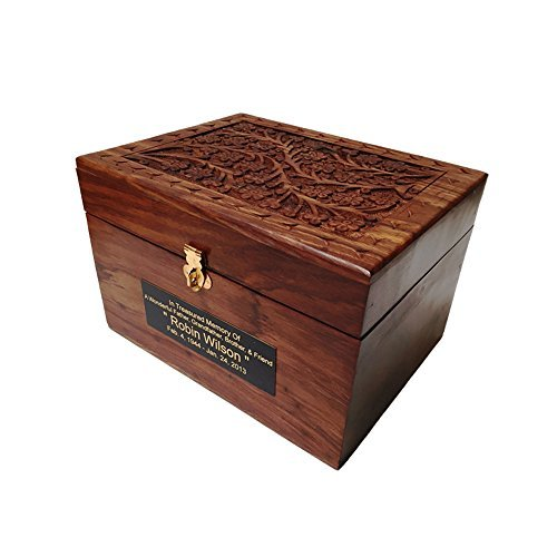 Adult Size Hard Wood Human Funeral Cremation Urn with Hand Engraved Flower Design and a Personalized Name Plate by NWA