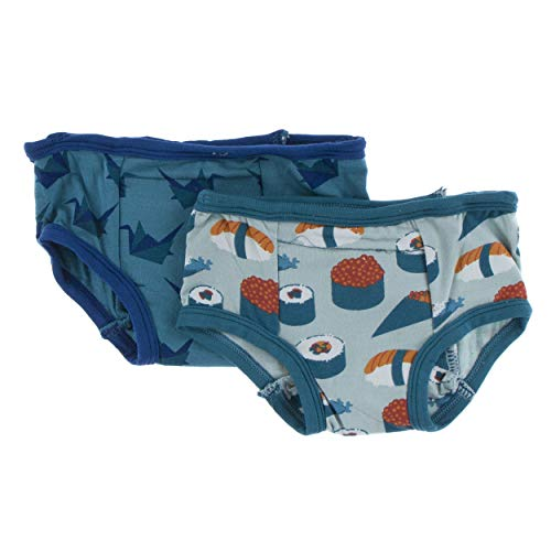 Kickee Pants Little Boys Training Pants Set - Jade Sushi and Seagrass Origami, 2T/3T