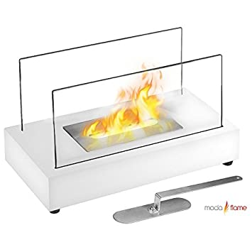 Moda Flame Vigo Table Top Ethanol Fireplace White