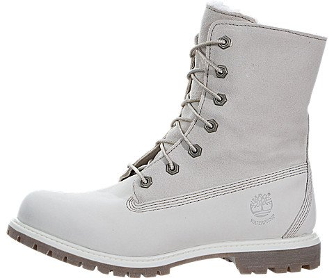 Timberland Women's Authentics Waterproof Fold-Down Teddy Fleece Boots White, 8 by Timberland