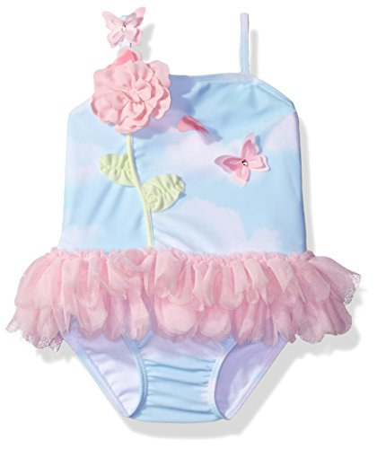 Kate Mack Baby Girls' Butterfly Sky Skirted Tank Swimsuit, Blue, 18M by Kate Mack