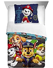Paw Patrol Super Soft Kids Bedding Set, 5 Piece Twin Size, Reversible Comforter Sham, Fitted & Flat Sheet and Reversible Pillow case