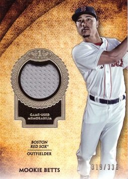 2017 Topps Tier One Relics #T1R-MB Mookie Betts Game Worn Jersey Baseball Card - Gray Jersey Swatch - Only 331 made! ()