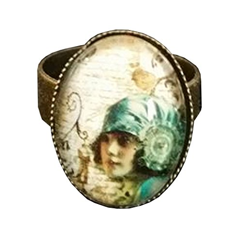 [Vintage Flapper Girl Mixed Media Glass Domed Adjustable Statement Ring] (1920s Dresses Cheap)