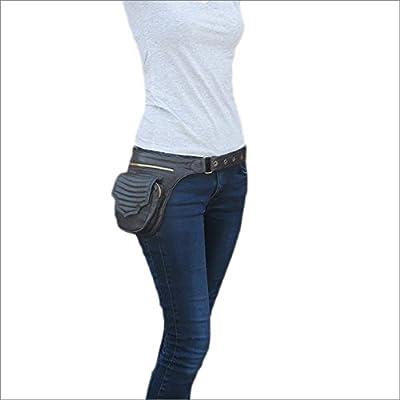 51b392da Eyes of India - Black Leather Belt Waist Bum Hip Pouch Bag Utility Fanny  Pack Pocket Travel