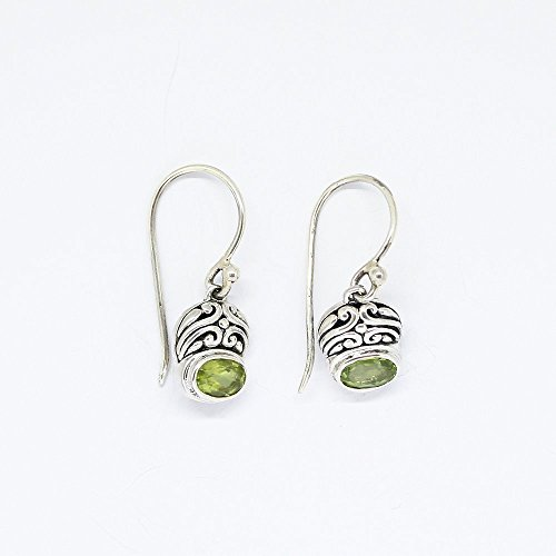 Handmade 925 sterling silver dangle drop peridot earrings with genuine and stunning oval-shaped 7*5 mm peridot stone, and gorgeous bali carving earring 27 mm drop length (Natural Oval Stunning)