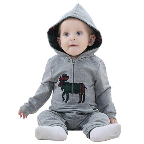 MICHLEY Herbst kleiner Junge vermummte overall baby strampler bekleidung JY063-grau 80CM
